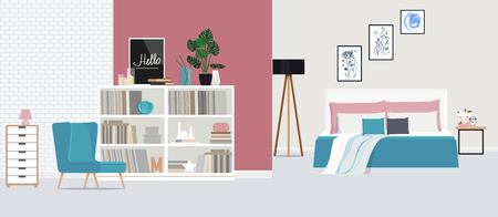 Blue armchair against the backdrop of a pink wall in a spacious, bright bedroom. Vector flat illustration. Illustration