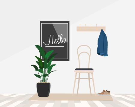 Cozy entrance hall equipment hanger and chair, against the wall welcome inscription in the frame.. Vector flat illustration.