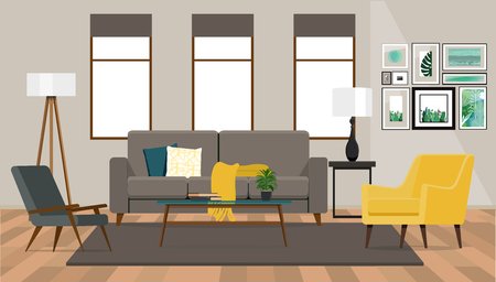 Interior design  of the living room with a sofa and two armchairs on the background of a wall with windows.