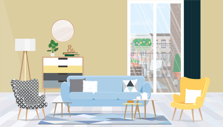 Interior design living room with furniture, a large window and access to the balcony. Illustration
