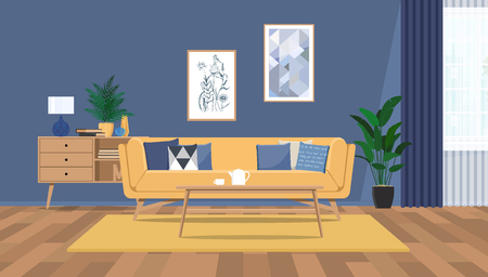 The design of the living room with fashionable furniture.