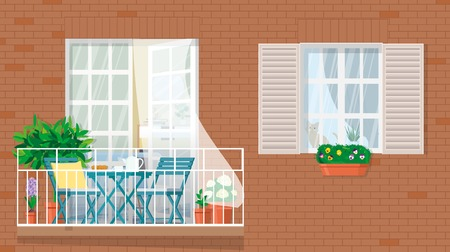 The facade of the building with a balcony and garden furniture. Ilustração
