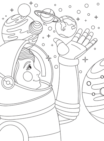 Cosmonaut in outer space with planets.