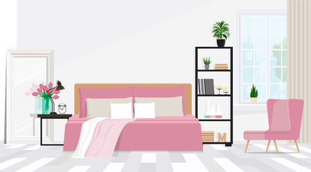 Interior bedroom design with a composition of furniture in pink.