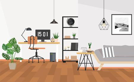Modern interior design office space Illustration