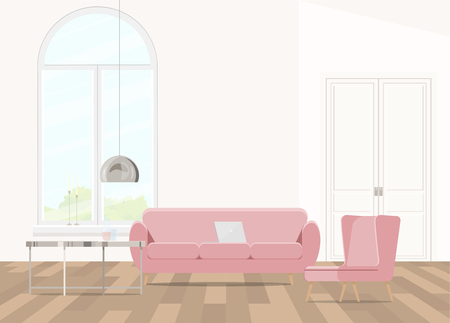 Interior design with pink furniture in pink and a large window. Illustration