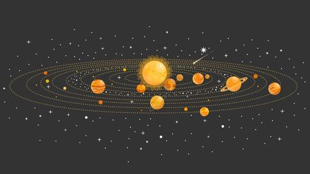 Solar system with isolated planets. Vector flat illustration. Infographics.