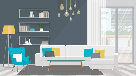 Living room with white sofa and turquoise armchair.