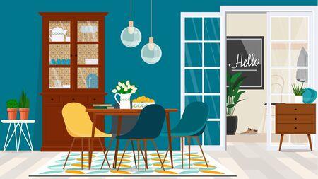 Projekt salonu w stylu duńskim z drewnianymi meblami na tle turkusowej ściany i drzwiami do przedpokoju. Ilustracje wektorowe