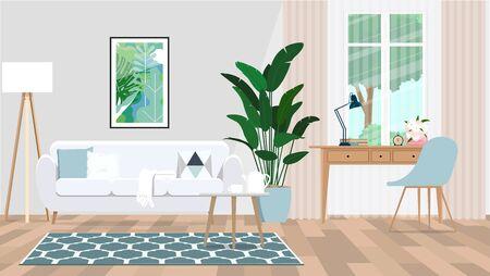 Interior moderno de una sala de estar con muebles en colores claros. Ilustración de vector