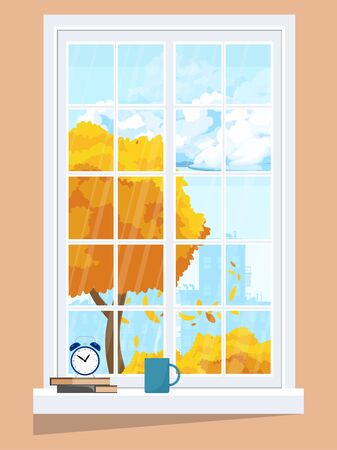 Window with autumn landscape. With a cup of books and an alarm clock.