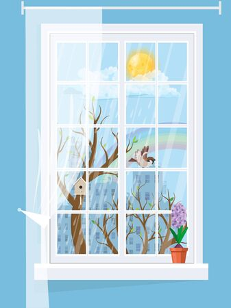 A cozy window with a spring landscape with hyacinth on the windowsill.