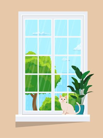 Window with summer view. With a plant on the windowsill and a cat. 向量圖像