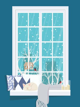 A cozy window with a winter landscape with pillows and a sleeping cat on the windowsill. Ilustrace