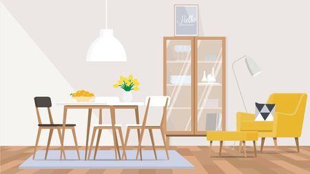 The interior design of the living room and dining room in the Scandinavian style with a yellow chair, wooden furniture.