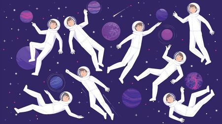 Set of astronauts in weightlessness of outer space. Vector flat illustration.