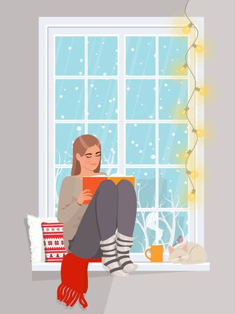 Woman at the winter window. Winter season lifestyle. Vector flat style. Иллюстрация