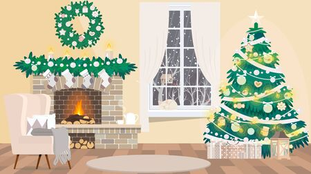 Christmas room interior. Armchair with pillow, decorated Christmas tree, colorful gifts and snow outside the window.