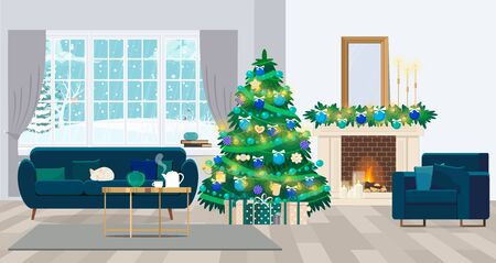 Christmas interior of the living room with a Christmas tree, gifts and a fireplace. Vector illustration in a flat style.