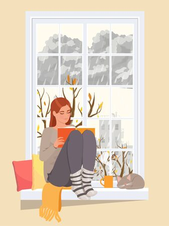 Woman at the winter window. Winter season lifestyle. Vector flat style. Illustration