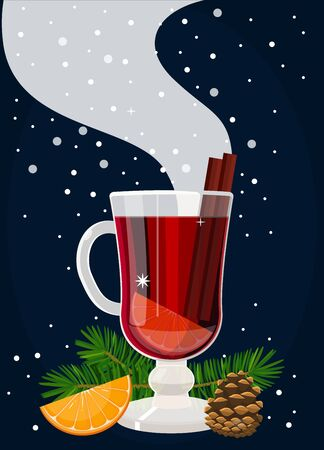 Illustration with a hot cup of mulled wine.