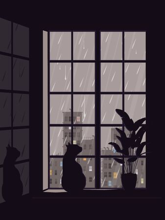 A cat sits on a window and watches the rainy cityscape.