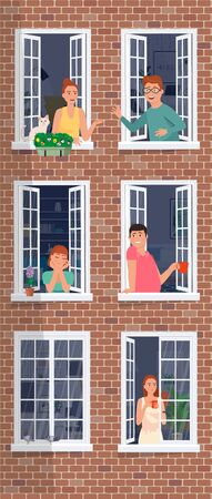 People in the window frames communicate. Urban residents inside the apartments.