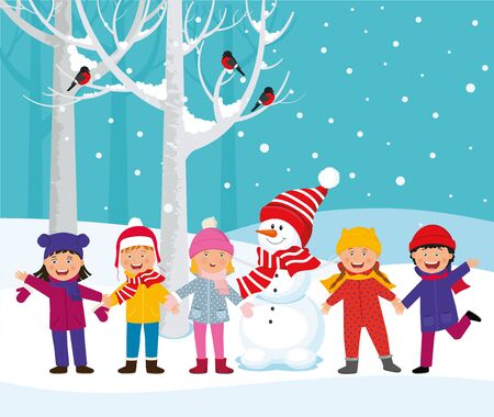 Cheerful children play outside in the winter.