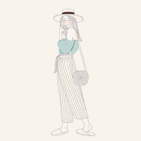 Nice girl in fashionable clothes in the summer. Hand drawn style vector design illustrations.