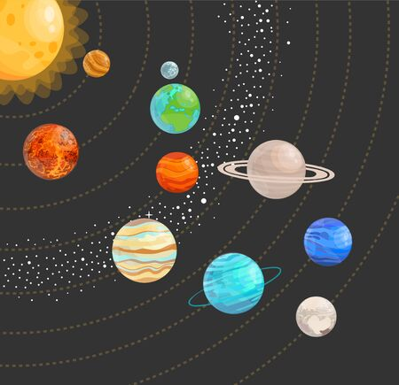 Solar system with isolated planets. Vector flat illustration. 向量圖像