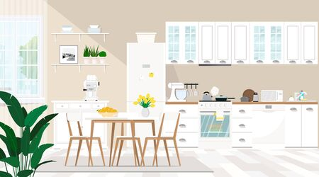 Modern interior of the kitchen and dining room with furniture, dishes, window, household appliances.