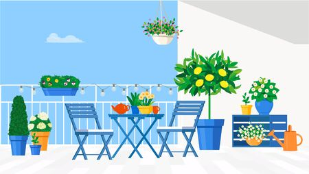 Blue garden furniture on the balcony with pots of flowers and a lemon tree. Vector flat illustration. Stok Fotoğraf - 133066228