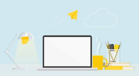 Desktop with computer, lamp, stationery and flying paper airplane.