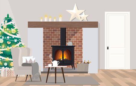 Design d'intérieur de salon de style danois avec cheminée.