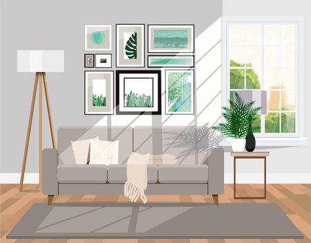 Sunlit room with furniture. Vector apartment background.
