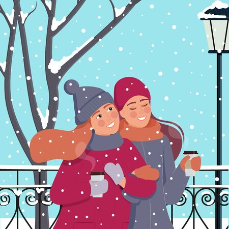 Happy girls with cups of coffee. Walking in a winter park during a snowfall.  イラスト・ベクター素材