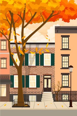 Autumn city with a leaf fall. Houses on the street along the road.