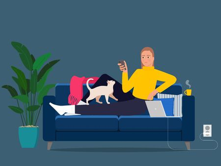A girl on the sofa with a smartphone and a cat on her lap and a laptop on the sofa.
