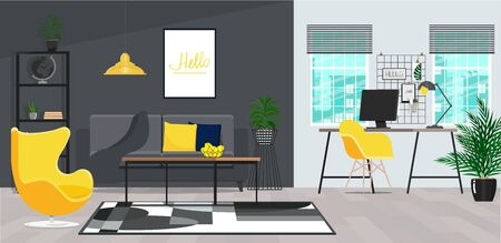 Yellow chair next to table in living room with work area next to the window Illustration