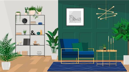 Stylish living room interior idea with green, blue and gold colors