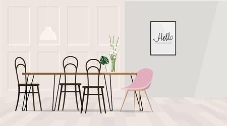 Interior design light dining room