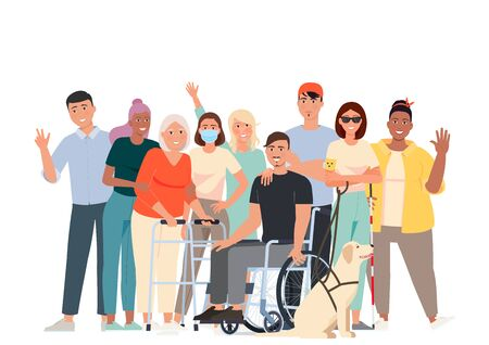 Vector illustration of people with disabilities. Volunteers, students and a man in a wheelchair, a blind girl with a guide dog, a girl with psoriasis, a girl in a mask with weakened immunity.