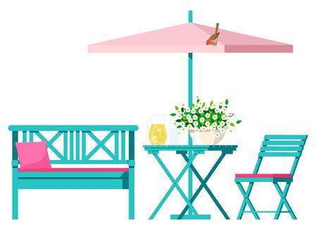 Garden furniture bench, chair with table under umbrella.