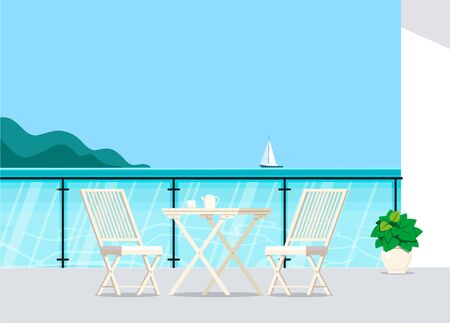 Balcony with sea view with a cozy corner with garden furniture. Vecteurs