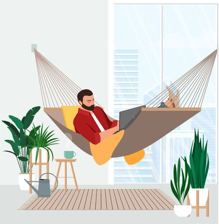 Freelancer works behind a laptop remotely lying in a hammock.