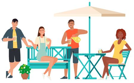 A company of people chatting with each other over a glass of lemonade while sitting on garden furniture.