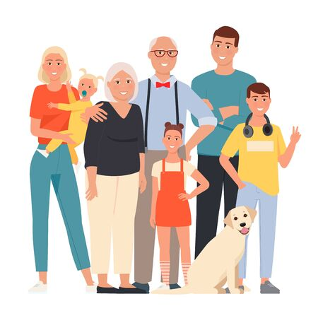 Happy family. Father, mother, grandmother, grandfather and children and dog