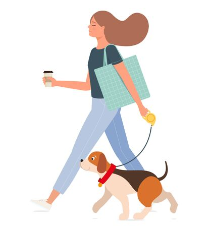 Young happy girl with a cup of coffee walks with a dog.