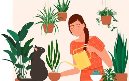 A young girl with a cat is watering plants.