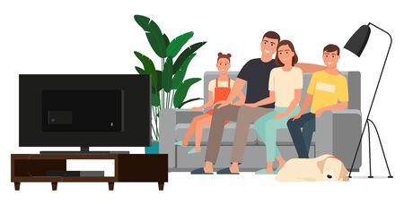 Happy family watching television sitting on the couch at home.